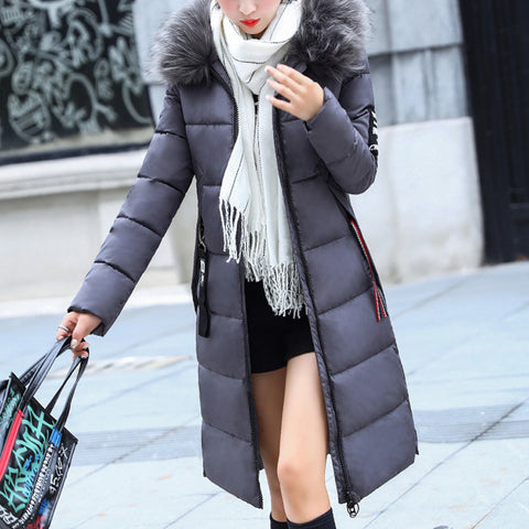 Fashion Solid Color Long Down Jacket
