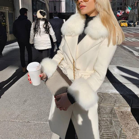 Fashion fur collar white double breasted belt coat