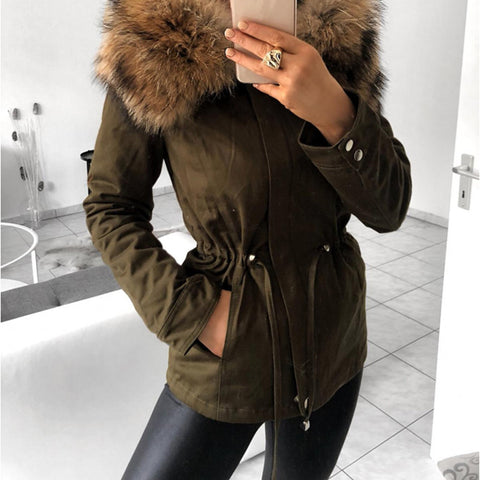 Fashion fur collar army green drawstring cotton coat