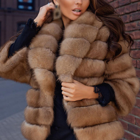 Fashion lady warm short plush coat