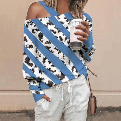 Irregular Splicing Striped Off-shoulder Loose Sweater