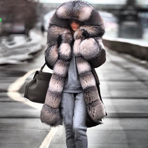Fashion hooded fur collar solid color coat