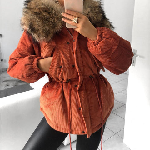 Fashion fur collar orange pits drawstring cotton coat