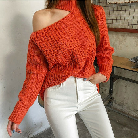 Women's casual high collar pure color loose sweater