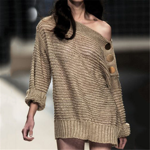 Sexy off-the-shoulder women's knit top