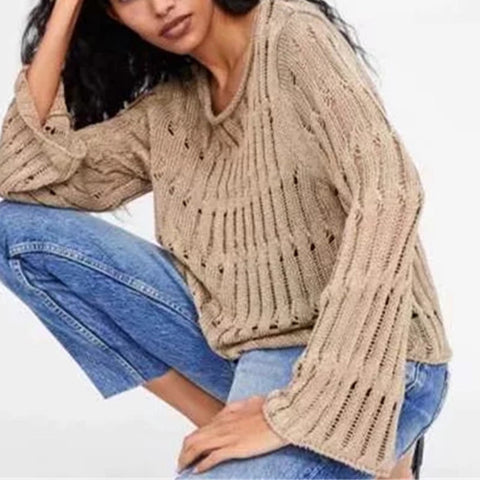 Retro lazy solid color loose openwork sweater