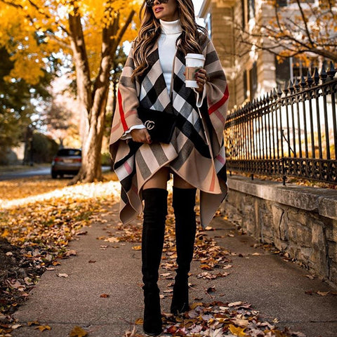 Casual Plaid Long Sleeve Overcoat