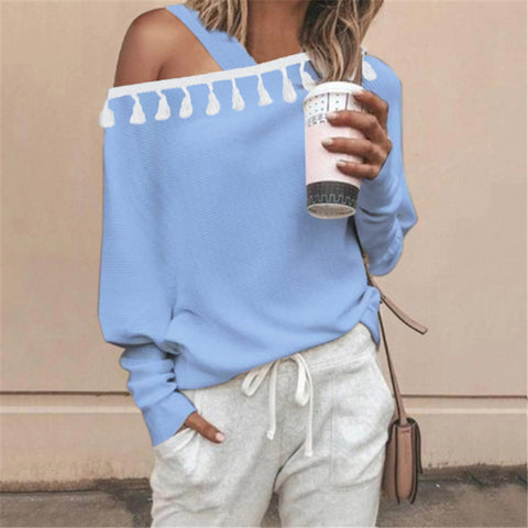Casual Single Shoulder Collar Tassel Sweater
