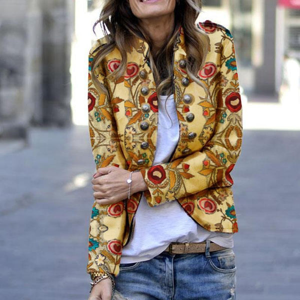Fashion Printing Double-Breasted Jacket