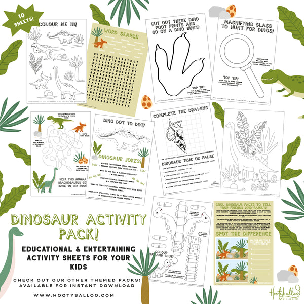 Free Dinosaur Activity Sheets Pack Digital Download