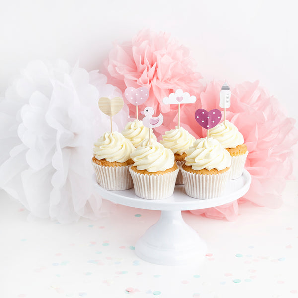 6 Assorted Pink Baby Shower Food Picks