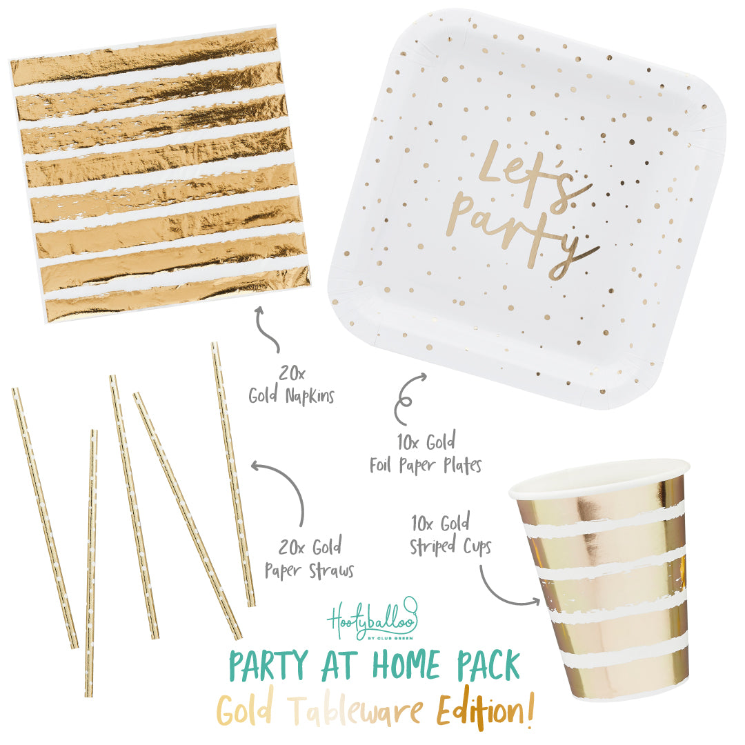 Gold Tableware Party At Home Pack