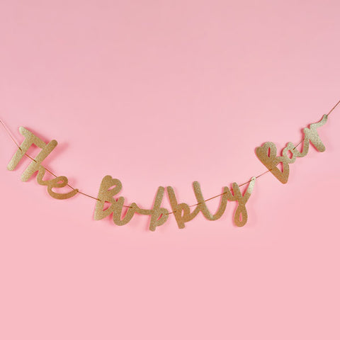 'The Bubbly Bar' Gold Banner
