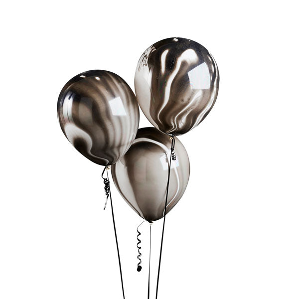 5 Black Marble Balloons