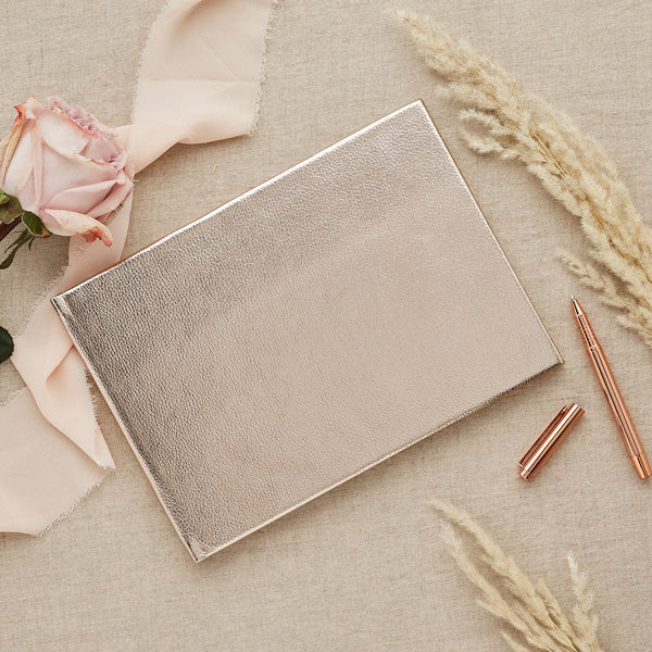 Metallic Faux Leather Guest Book
