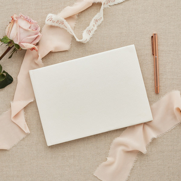 Ivory Faux Leather Guest Book