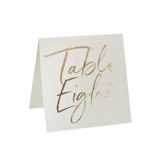 12 Gold Foiled Table Numbers