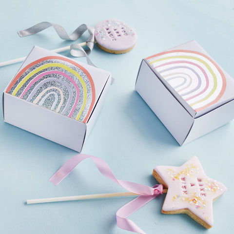10 Rainbow Cake Favour Boxes