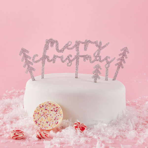 'Merry Christmas' Glitter Acrylic Cake Topper Set