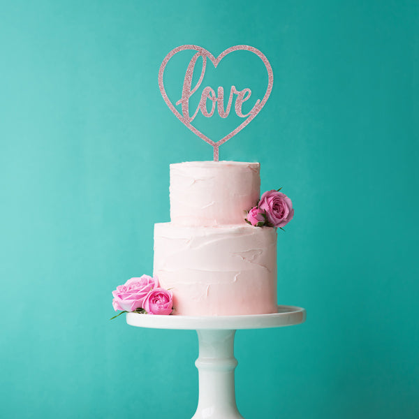 Rose Gold Glitter Acrylic Love Cake Topper