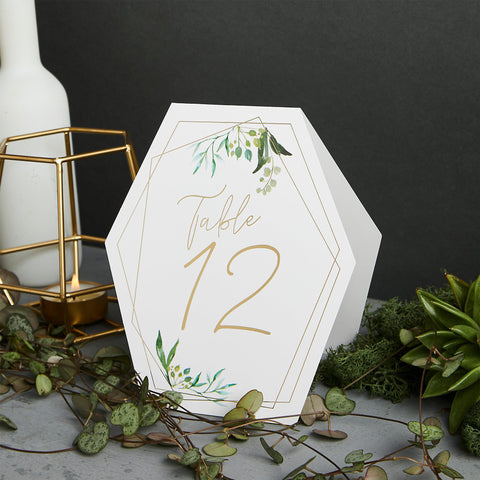 12 Geometric Gold Table Numbers