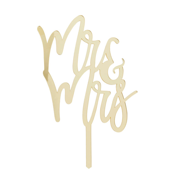 Gold Mirror Acrylic Mr & Mrs Cake Topper
