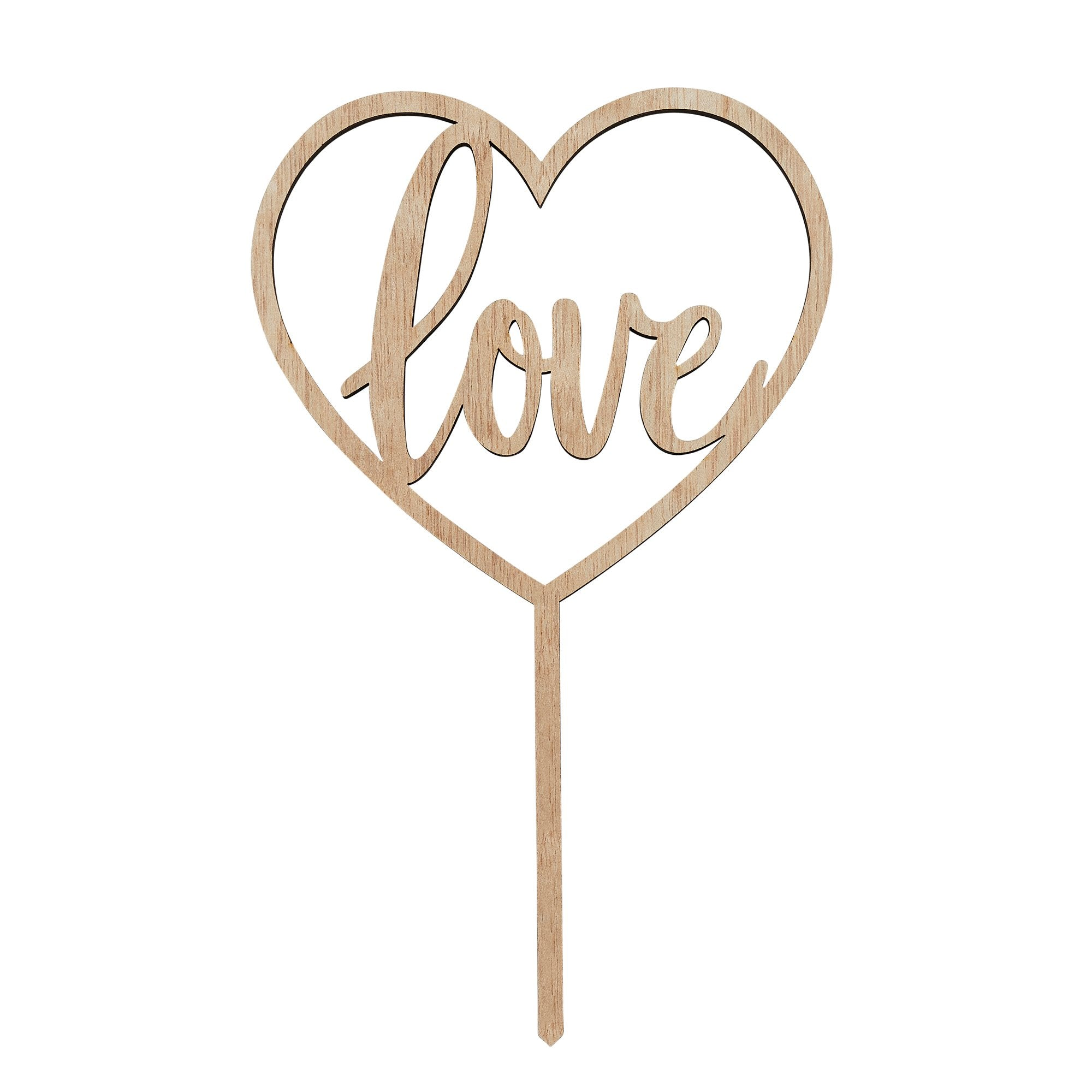 Wooden Love Cake Topper