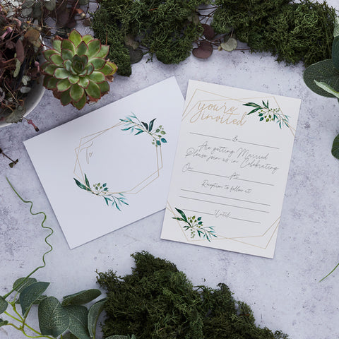 25 Geo Greenery Wedding Day Invitations & Envelopes