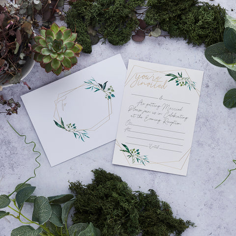 25 Geo Greenery Wedding Evening Invitations & Envelopes