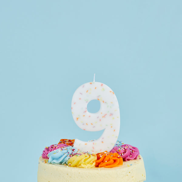 Giant Sprinkle Candle Number 9