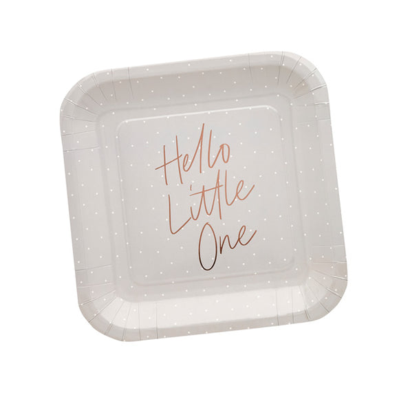 10 Hello Little One Rose Gold Foiled Baby Shower Paper Plates