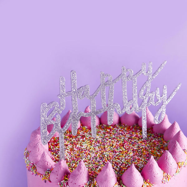 Silver Glitter Acrylic Happy Birthday Cake Topper