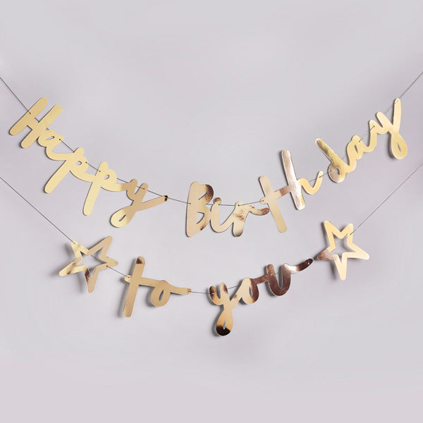 Gold Happy Birthday To You Banner