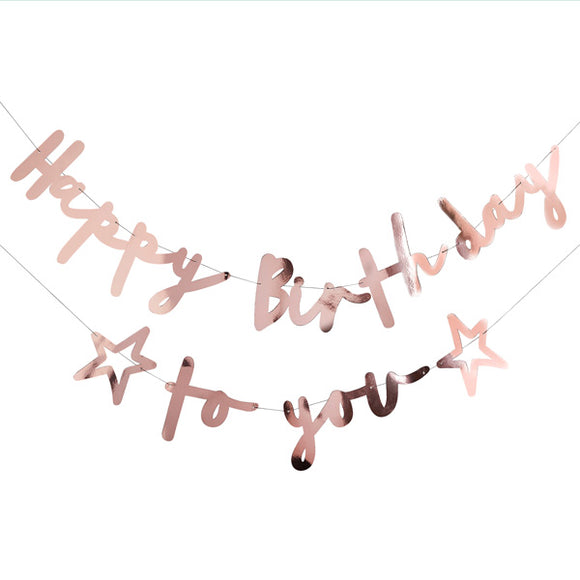 Rose Gold Happy Birthday To You Banner