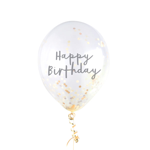 5 Gold Happy Birthday Confetti Balloons