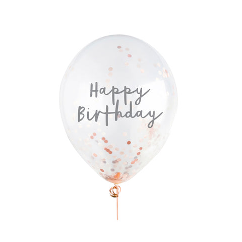 5 Rose Gold Happy Birthday Confetti Balloons