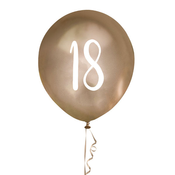 5 Gold Number 18 Balloons