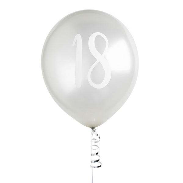 5 Silver Number 18 Balloons