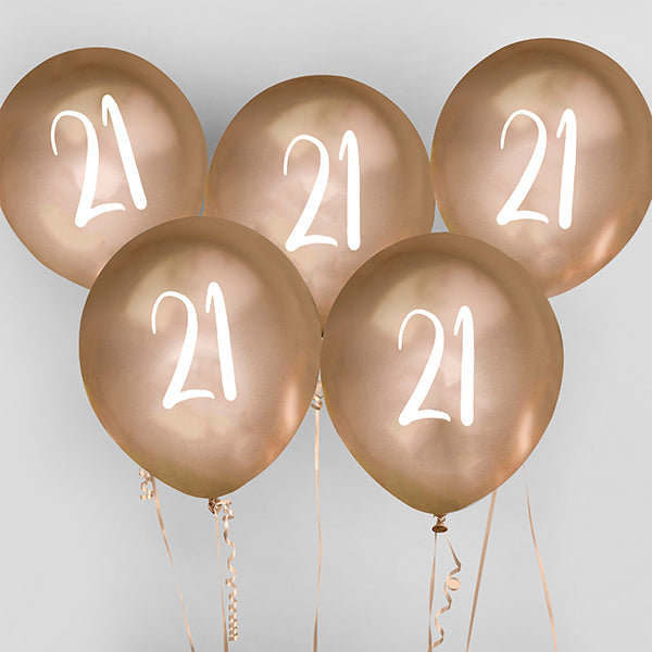 5 Gold Number 21 Balloons