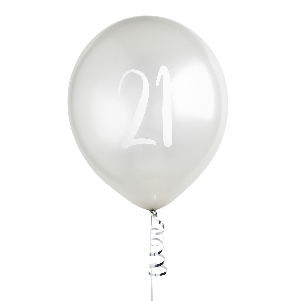 5 Silver Number 21 Balloons