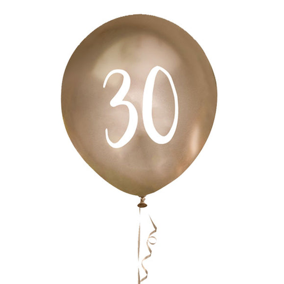 5 Gold Number 30 Balloons
