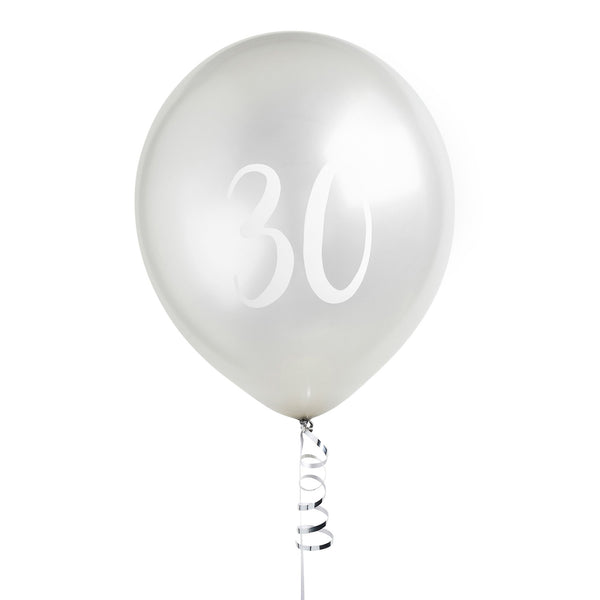 5 Silver Number 30 Balloons