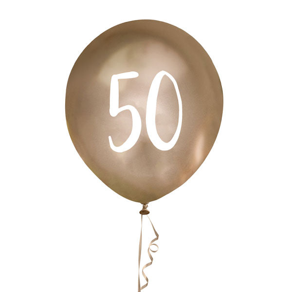 5 Gold Number 50 Balloons