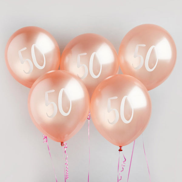 5 Rose Gold Number 50 Balloons