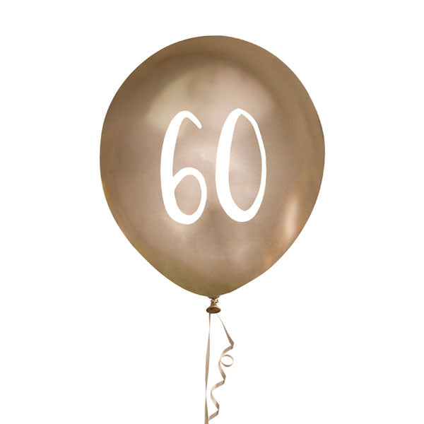 5 Gold Number 60 Balloons