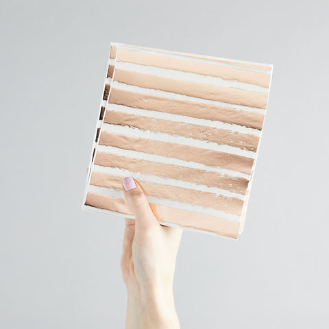 20 Rose Gold Striped Paper Napkins