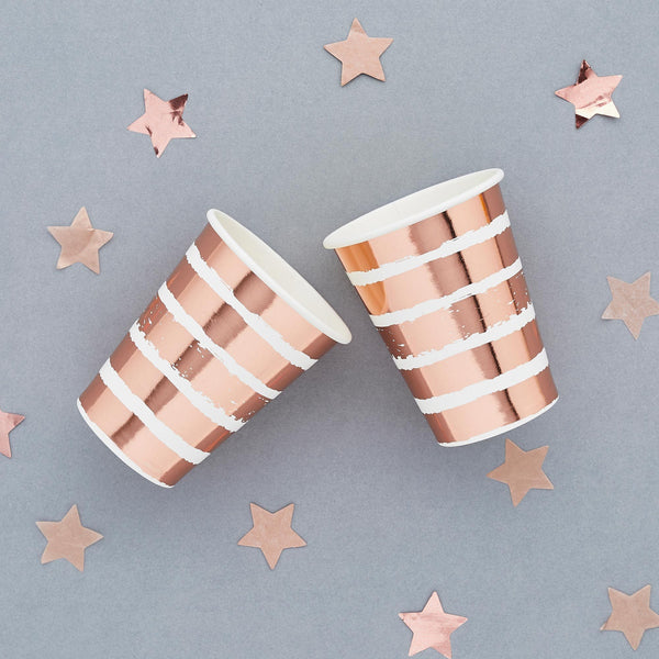 10 Rose Gold Striped Paper Cups