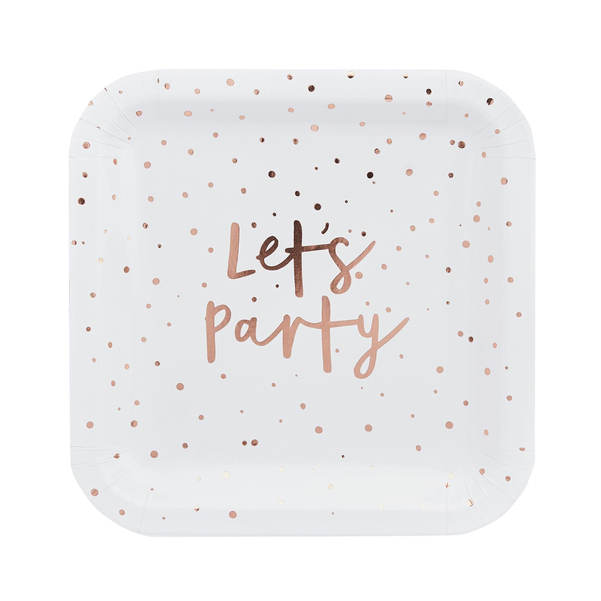10 Rose Gold Let's Party Paper Plates