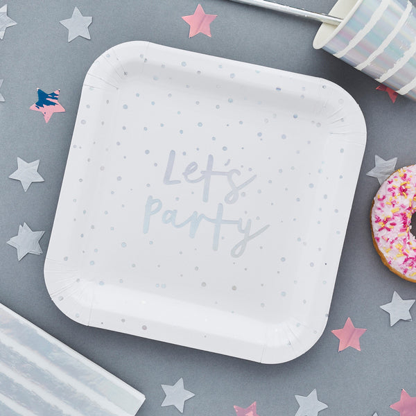 10 Iridescent Let's Party Paper Plates