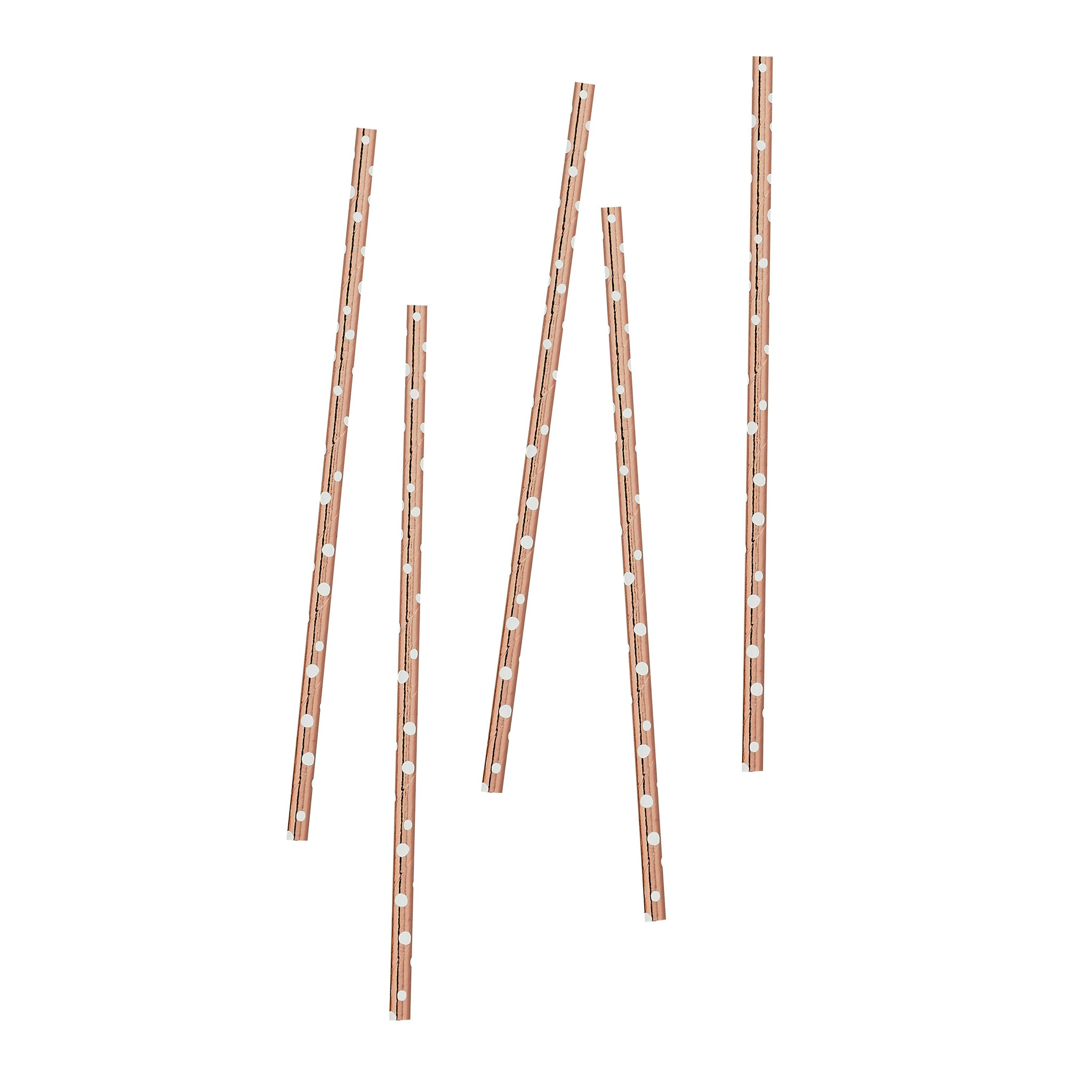 20 Rose Gold Dot Paper Straws